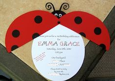 Ladybug Party Invitation. Too cute!  Again it would need to be brown and pink.