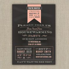Housewarming Party Invitation  Chalkboard Style  Printed by ElleOL, $15.00