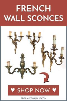 Fill your home with these charming antique wall sconces from France. They'll make a great addition to your French country home. #sconces #wallsconces #frenchbathroom #bathroomdecor #frenchcountry #brocantemajolie French Country Living Room, French Country Bedrooms, French Country Style, Country Bathrooms, Wall Decor Pictures, Decorating With Pictures, Decoration Pictures, French Decor, French Country Decorating