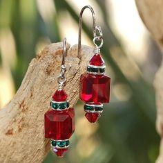 Christmas Earrings Swarovski Handmade Siam Emerald Red Green Holiday