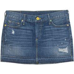 TRUE RELIGION Alexia Mini Skirt Vintage RLG // Denim mini skirt ($110) ❤ liked on Polyvore featuring skirts, mini skirts, denim skirt, blue skirt, sexy miniskirts, mini skirt and sexy short skirts
