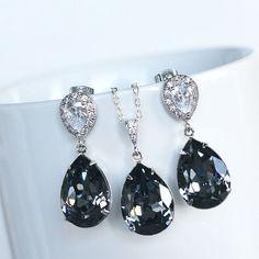 Handmade Swarovski Silver Night Crystal Necklace & Earrings Set (Sparkle-2225) #Handmade #NecklaceEarringsSet