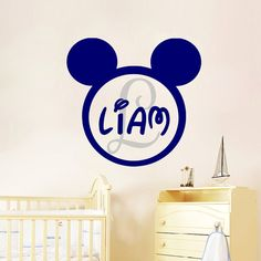 Boy Name Wall Decals Personalized Mickey Mouse Decal Cartoon Sticker Nursery Kids Room Bedroom Home Decor DS404