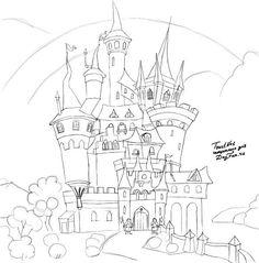 Как нарисовать замок карандашом поэтапно 3