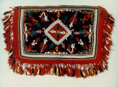 """Kapli"" or ""ampa�"", a woven hand-embroidered cloth, decorating the horse that carried the bride and bridegroom. Sarakatsani, Thrace (Inv. No. 6849) Greek Costumes, Athens Greece, Greeks, Folk Costume, Fringes, Art Museum, Folk Art, Bohemian Rug, Weaving"