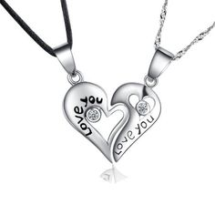 925 Sterling Silver Couple Necklace for 2 Split Heart Love You Engraved Promise Couples Necklace Set 18 with Black Cord and Silver 1mm Singapore Chain with Spring Ring Clasp Closure
