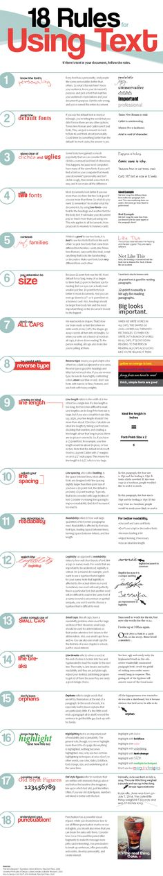 Web & Graphic Design Tips: 18 Rules for Using Text [Infographic]