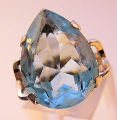 $110.00 Vintage 12ct Blue Topaz Ring Pear Shape Sterling Silver Clark & Coombs Size 7.5 Jewelry Jewellery FREE SHIPPING by BrightEyesTreasures on Etsy