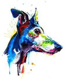 Colorful Greyhound Art Print Print of my Original by WeekdayBest