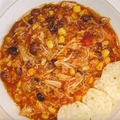 Slow cooker chicken tortilla soup. We used raw chicken breast and cooked on low for 10 hours. It was delicious!