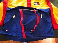 Rare VTG 90's Tommy Hilfiger Windbreaker Sailing Gear Hood Jacket Mens Sz