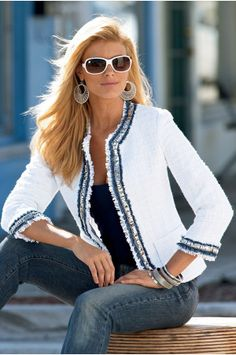 """""""denim-trim tweed jacket"""" by Boston Proper. Mode Outfits, Casual Outfits, Fashion Outfits, Womens Fashion, Look Fashion, Winter Fashion, Chanel Style Jacket, Mode Chanel, Mein Style"""