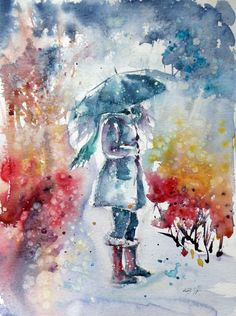 """Girl with umbrella"", watercolour painting by Kovács Anna Brigitta 