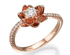Flower engagement ring -14k rose gold and diamond engagement ring, Wedding ring , Flower ring