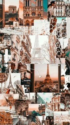 Paris Lockscreen 🌉 by inspiremah 💗 Iphone Wallpaper Tumblr Aesthetic, Aesthetic Pastel Wallpaper, Aesthetic Backgrounds, Aesthetic Wallpapers, Travel Wallpaper, Iphone Background Wallpaper, Galaxy Wallpaper, Collage Mural, Collage Background