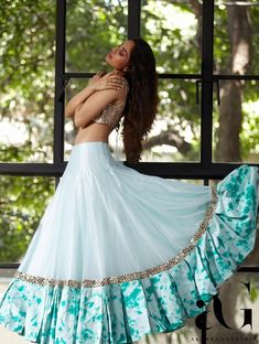 Then you're going to love this beautiful lehenga by Akanksha Gajria Indian Gowns Dresses, Indian Fashion Dresses, Dress Indian Style, Indian Designer Outfits, Long Gown Dress, Lehnga Dress, The Dress, Lehenga Choli Designs, Ghagra Choli