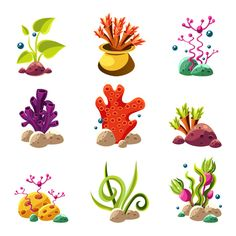 Underwater plants and creatures Graphics Original elements to create your own design.Zip contains: PSD / PNG / PDF/ JPEG / AI / ho by TopVectors Underwater Plants, Underwater Art, Underwater Creatures, Art Drawings For Kids, Art Drawings Sketches, Art For Kids, Cartoon Sea Animals, Cartoon Fish, Inkscape Tutorials