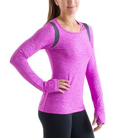 Neon Fuchsia & Heathery Gray Long-Sleeve Top by 15 Love
