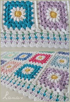 (Crochet * Stash-buster) A baby blanket in granny squares with a daisy in the center. Una manta de bebé hecha con cuadros de...