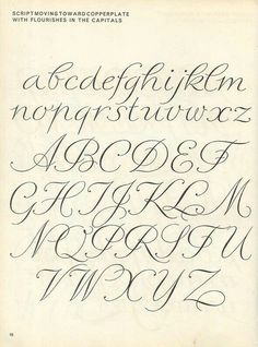 Parecida a mi letra vintage script alphabet ~ Script Lettering M. Meijer ~ script moving toward copperplate with flourishes in the capitals Hand Lettering Fonts, Creative Lettering, Lettering Styles, Handwriting Fonts, Penmanship, Brush Lettering, Handwriting Styles, Lettering Tutorial, Script Fonts