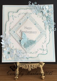 Good Morning Everyone Not a very nice day here in Nottingham, but we have to make the most of it and 'Carry On Crafting' Today's card is. Anniversary Crafts, Wedding Anniversary Cards, Happy Anniversary, Wedding Cards, Diamond Anniversary, Wedding Favours, Fun Fold Cards, 3d Cards, Die Cut Christmas Cards