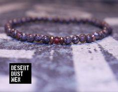 Obsidian men's bracelet, Men's obsidian bracelet, Men's beaded bracelet, Men's garnet bracelet, Garnet men, Obsidian men, Mens gift by DESERTDUSTMEN on Etsy