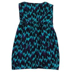 Pre-owned Shoshanna Teal, Purple & Black Strapless Dress ($99) ❤ liked on Polyvore featuring dresses, teal, teal strapless dress, mixed print dress, teal blue dresses, teal dress and purple dress
