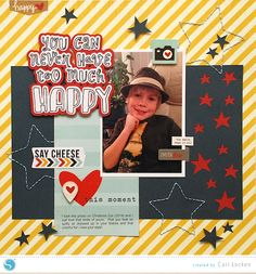 """""""Happy""""- by Cari Locken-for-Silhouette Tutorial for this layout is up on the blog."""