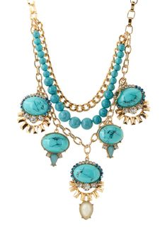 Large turquoise stones necklace