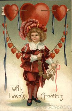 Vintage Valentine card. With Loves Greeting. Boy in wonderful clothes!