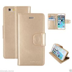 For iPhone 6/6s Genuine MERCURY Goospery Gold Leather Flip Case Wallet Cover
