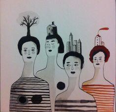 Discordanze. Agosto #illustration #portrait #ink #woman #handmade #black&white #illustrazione #china #red