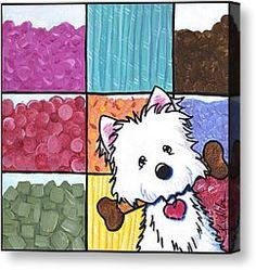 Candy Shop Westie Canvas Print by Kim Niles