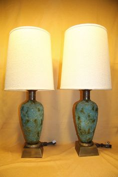 2 vintage mid century modern drip glaze bluegreen ceramic table pair 1960s mcm turquoise green textured ceramic table lamps w brass base aloadofball Images