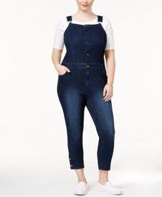 Rachel Rachel Roy Trendy Plus Size Cropped Denim Overalls - Blue 20W