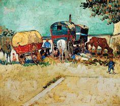Vincent van Gogh - Camps de Tziganes avec des voitures attelées