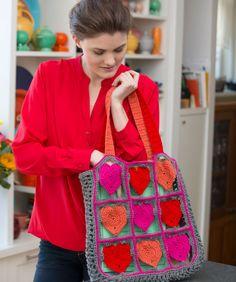 Crochét Heart tote Bag Crochet Pattern   Red Heart
