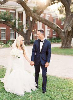Gorgeous trumpet style wedding dress: http://www.stylemepretty.com/florida-weddings/osprey-florida/2016/07/16/modern-southern-outdoor-wedding/ | Photography: Justin DeMutiis