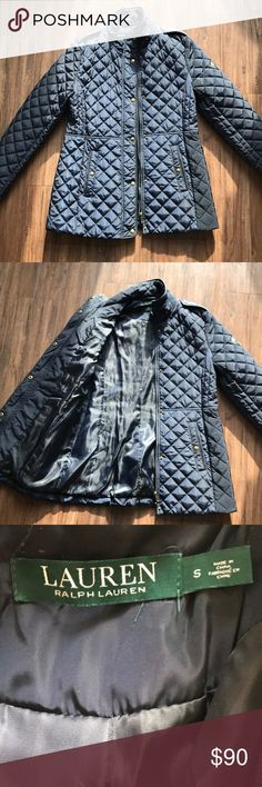 Ralph Lauren Quilted Jacket Classy clean stylish look! A great jacket, sadly I just don't use it enough. It was only worn once other than that it's brand new! Navy color. Lauren Ralph Lauren Jackets & Coats