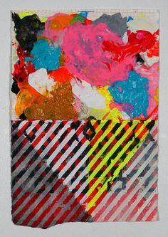 Geometric Painting Pink Aqua & Black NY1227 by JenniferSanchezArt, $250.00