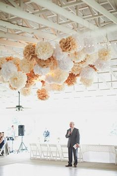 wedding decor, rustic wedding decorations, tissue paper poms, shabby chic neutrals, custom colors, reception party dancefloor tent marquee