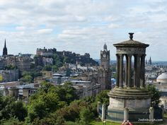 W H Playfair Dugald Stewart monument on Calton Hill with fine views to Edinburgh Castle and Edinburgh's Old and New Towns Edinburgh Castle, National Museum, World Heritage Sites, Athens, Old And New, First Time, Scotland, Wanderlust, Cottage