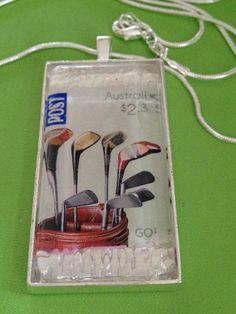 Australian Stamp Golf Pendant Necklace by joytoyou41 on Etsy, $25.00