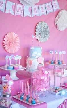 Vintage Hot Air Balloon Baby Shower via Kara's Party Ideas | Kara's Party Ideas