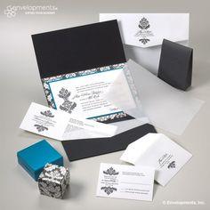 Brenda Henry invitations. Black and blue