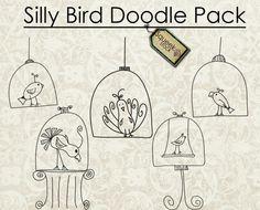 Cute doodle birds.