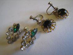 Vintage Gold Tone Screw-Back Earrings W/Black, Green & Crystal Glass Rhinestones