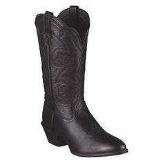 Ariat Heritage Western R-Toe Western Boots for Ladies - Black Deertan - 6.5 W