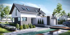Two Storey Modern House Design 1 Solar Panel Cost, Solar Panels For Home, Minimalist House Design, Modern House Design, House Deck, My House, Landscape Arquitecture, Sloped Yard, Attic House