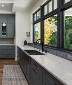 I like the wood floors, dark cabinets, and white countertop. will all white cabinets and stainless steel appliances work together? Kitchen Sink Window, Dark Kitchen Cabinets, White Cabinets, Kitchen Windows, Window Over Sink, Kitchen Sink Interior, Bathroom Cabinets, Modern Farmhouse Kitchens, Black Kitchens